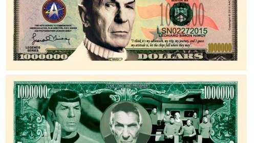 Billete dollar Spock -Leonard Nimoy. Star Trek