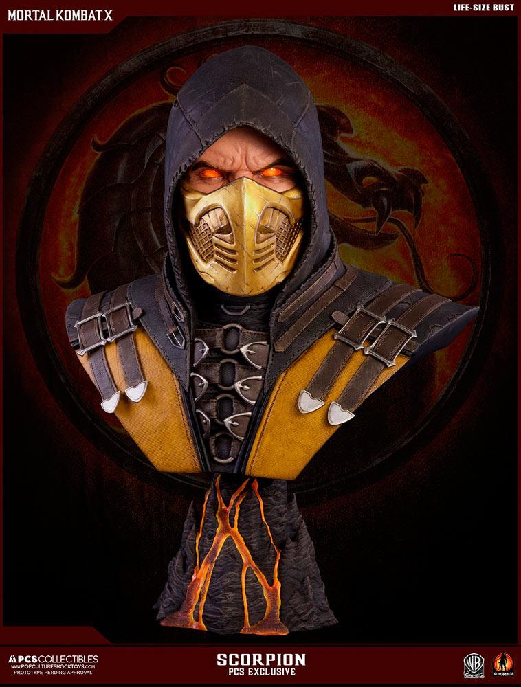Busto Scorpion 76 cm. Mortal Kombat X. Con luz. Edición exclusiva. Escala 1:1. Tamaño real. Pop Culture Shock