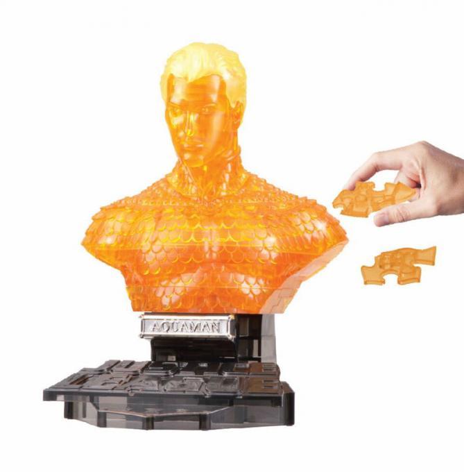 Busto puzzle 3D Aquaman 15 cm. Happy Well. Efecto Cristal. DC Cómics