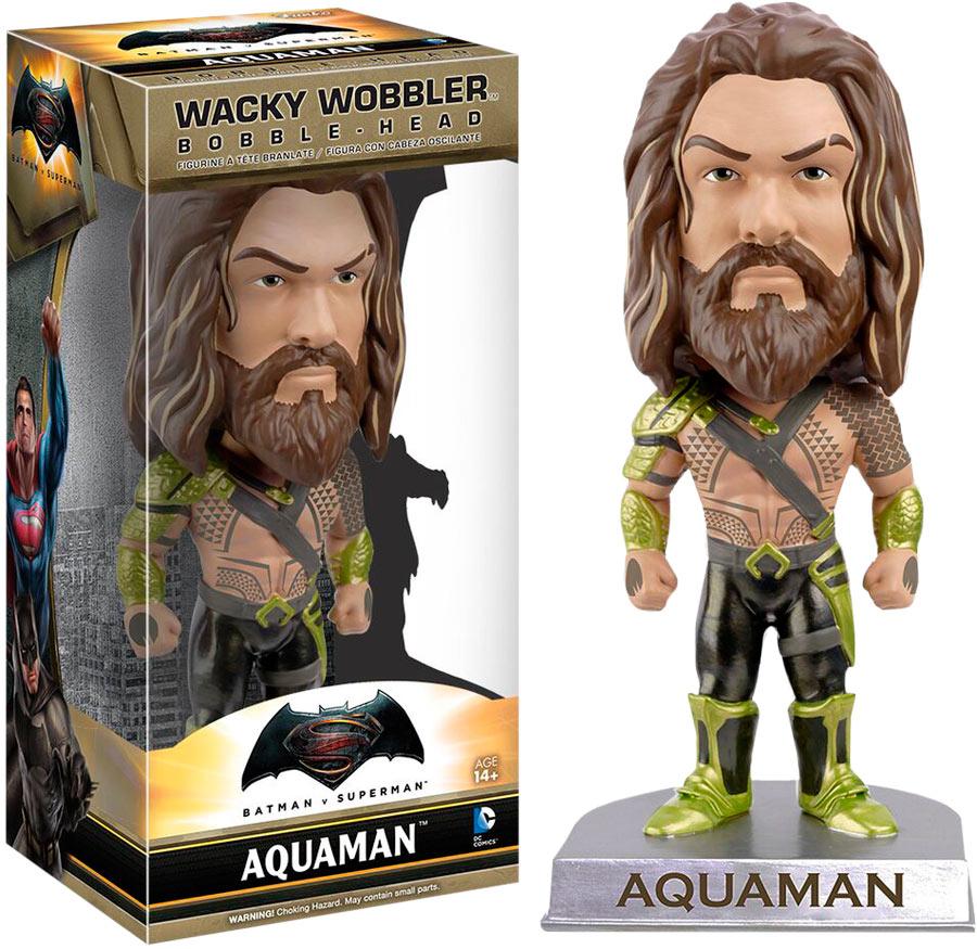 Cabezón Aquaman 15 cm. Batman v Superman: el Amanecer de la Justicia. Línea Wacky Wobbler. Funko