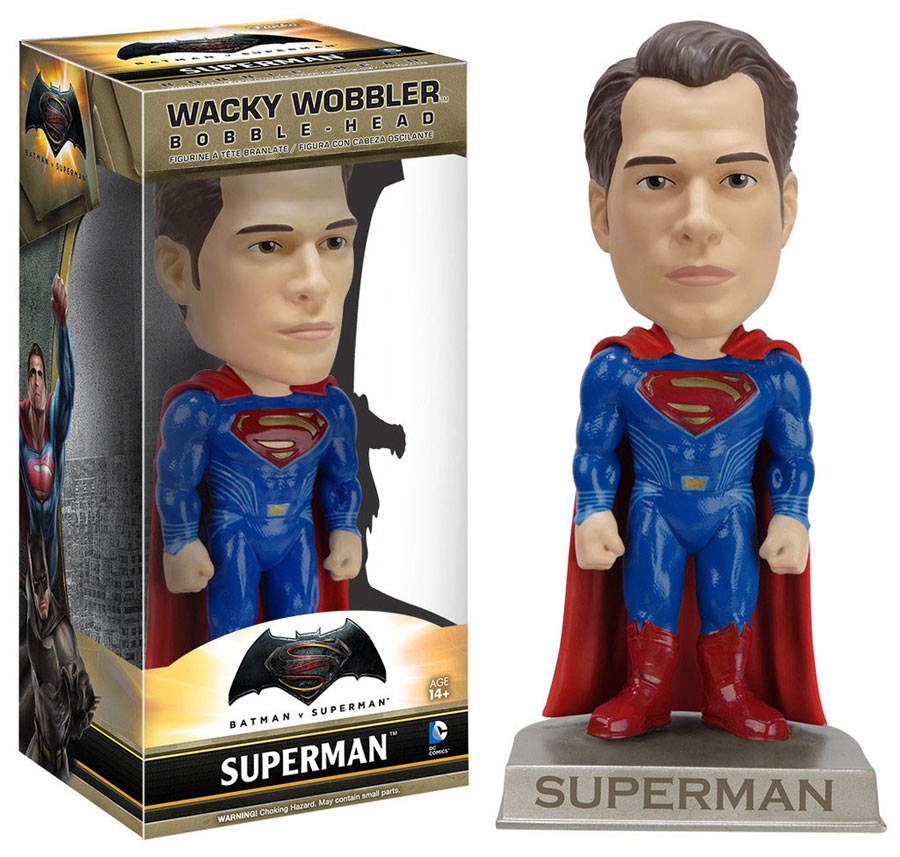 Cabezón Superman 15 cm. Batman v Superman: el Amanecer de la Justicia. Línea Wacky Wobbler. Funko