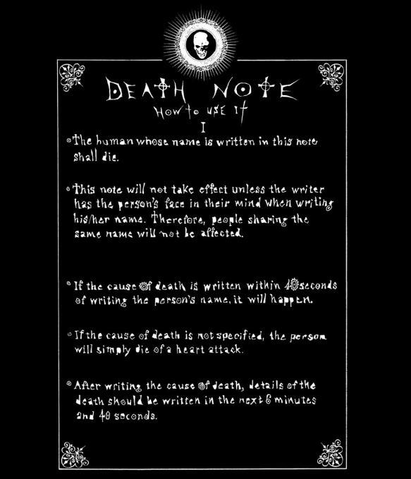 Camiseta Death Note. Reglas del diario