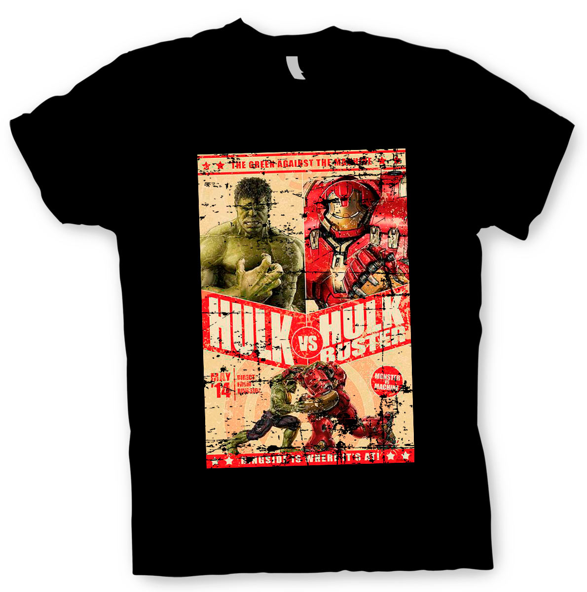 Camiseta Hulk vs Hulk Buster. Los Vengadores. Marvel Cómics