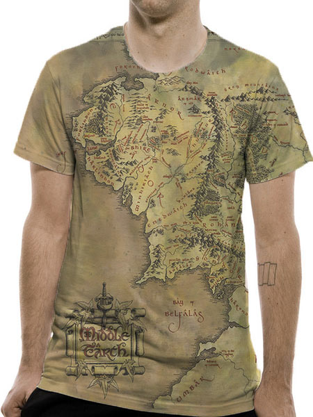 Camiseta Mapa Tierra Media. El Señor de los Anillos