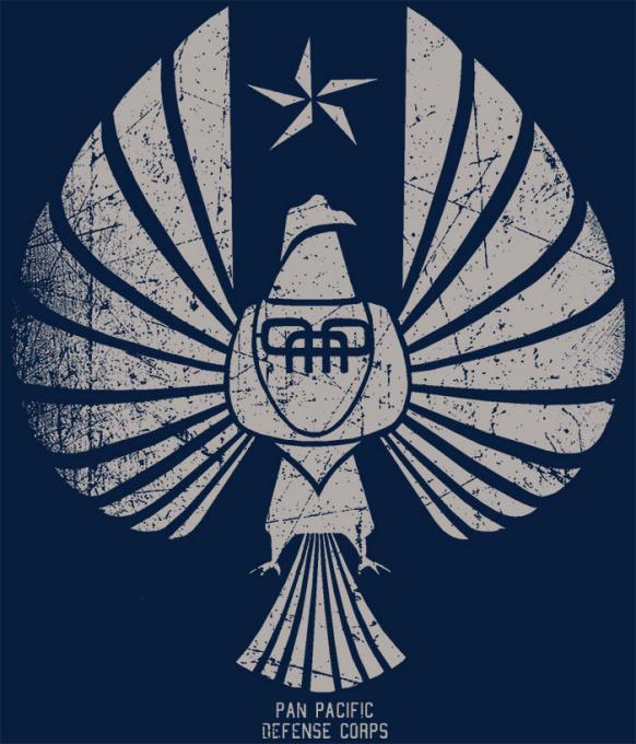 Camiseta Pacific Rim. Pacific Defense Corps (PPDC). Logo