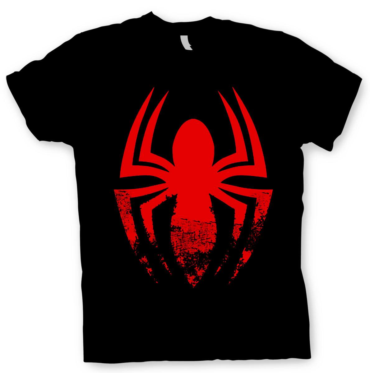 Camiseta Spiderman. Símbolo araña. Modelo negra