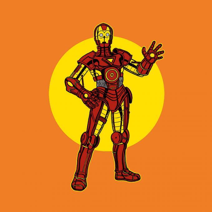 Camiseta Star Wars. C-3PO como Iron Man