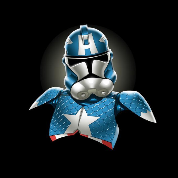 Camiseta Star Wars. Clone Trooper como Capitán América