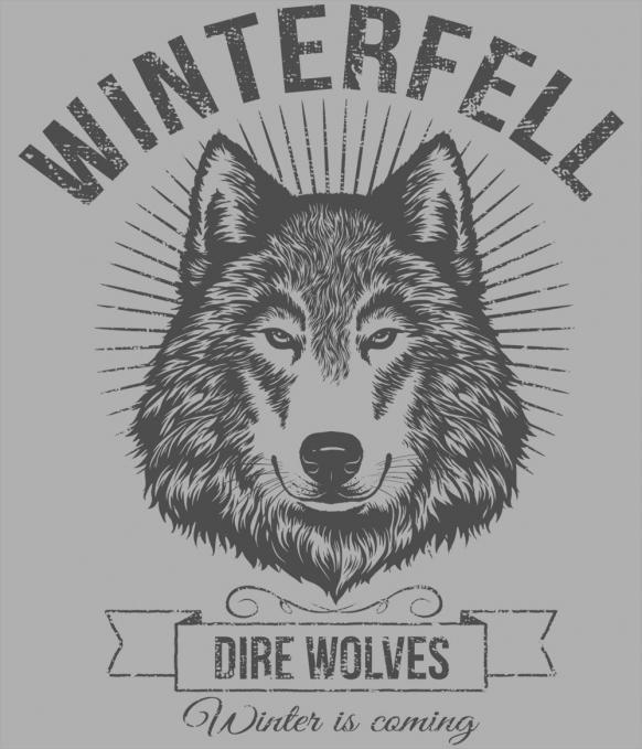 Camiseta Winterfell. Dire wolves. Juego de Tronos