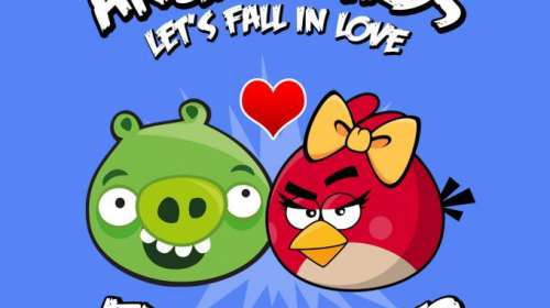 Camiseta chica Angry Birds. Amor imposible