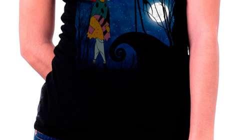Camiseta chica Jack y Sally. Pesadilla antes de Navidad