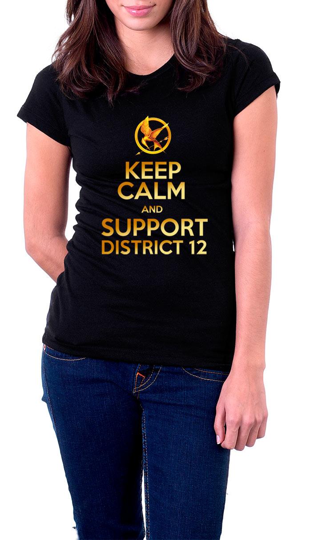 Camiseta chica Keep Calm and support district 12. Los Juegos del Hambre