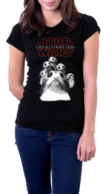 Camiseta chica Star Wars Episodio VIII. Party Porgs