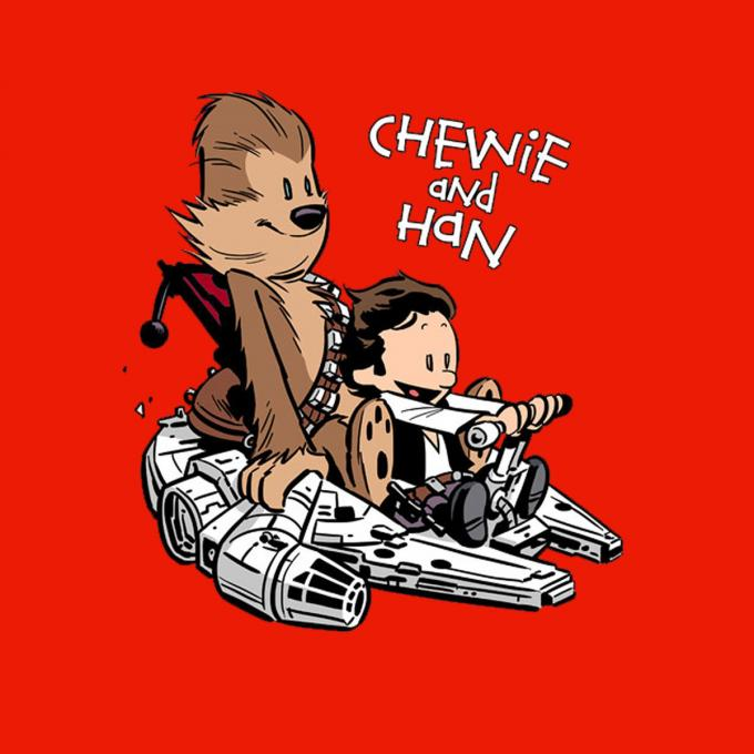 Camiseta chica Star Wars. Chewie y Han
