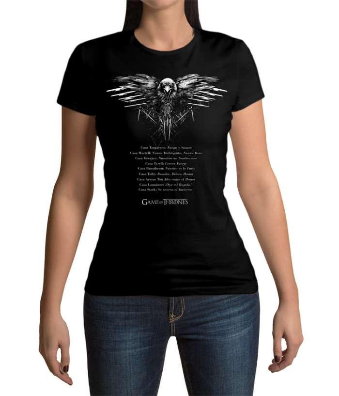 Camiseta chica lemas casas Juego de Tronos. Modelo 2