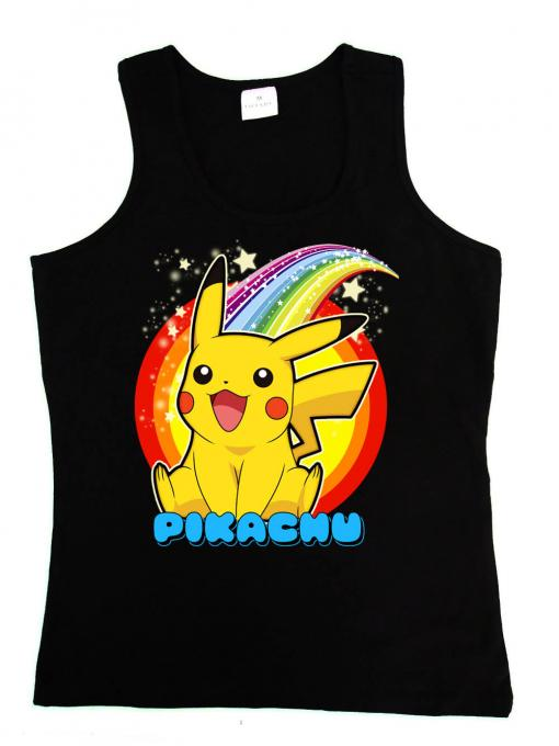 Camiseta chica tirantes Pikachu. Arcoíris. Pokemon