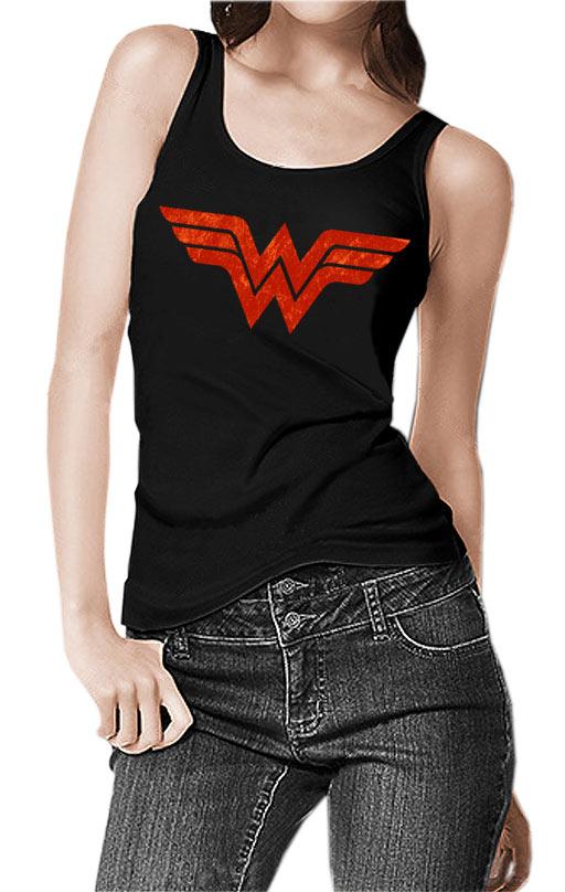 Camiseta chica tirantes Wonder Woman logo vintage. Modelo 3