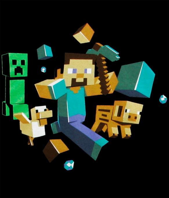 Camiseta niño Minecraft. Steve corriendo