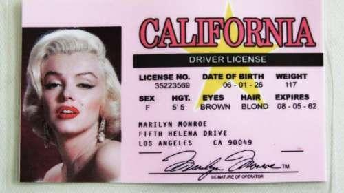 Carnet de conducir Marilyn Monroe