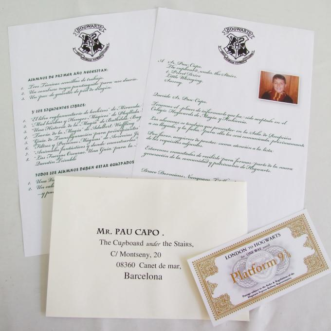 Carta ingreso Harry Potter