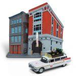 Diorama Estación Bomberos & Vehículo 1/64 1959 Cadillac Ecto-1. Los Cazafantasmas. Hotwheels
