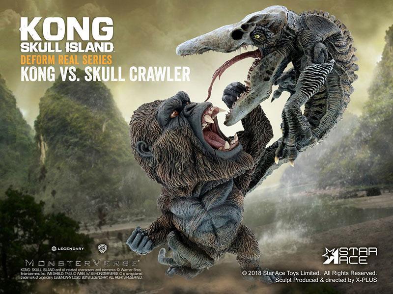 Estatua Kong vs Crawler 23 cm. Kong: La Isla Calavera. Deform Real Series. Star Ace Toys