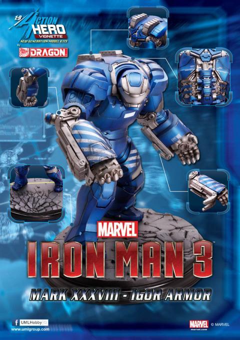 Estatua Mark XXXVIII Igor 20 cm. Escala 1/9. Iron Man 3. Dragon Models