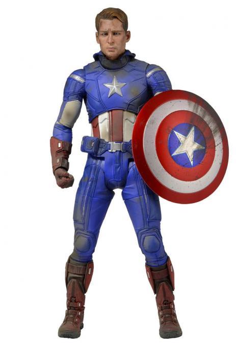 Figura Capitán América 46 cm. Versión dañada. Escala 1/4. Los Vengadores. NECA