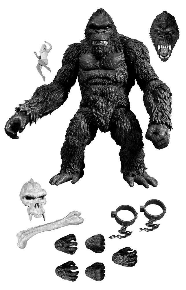 Figura King Kong 18 cm. Kong: La Isla Calavera. Exclusive Black & White. Mezco Toyz