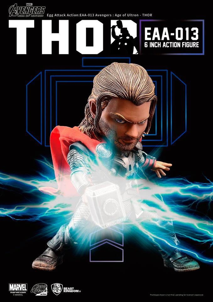 Figura Thor 15 cm. Los Vengadores: la era de Ultrón. Con luz. Línea Egg Attack. Beast Kingdom Toys