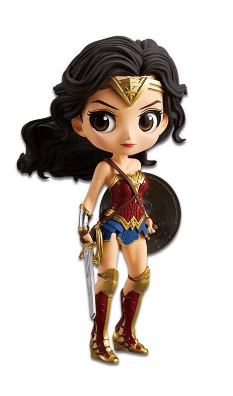 Figura Wonder Woman A Normal Color Version 14 cm. La Liga de la Justicia. Q Posket. Banpresto