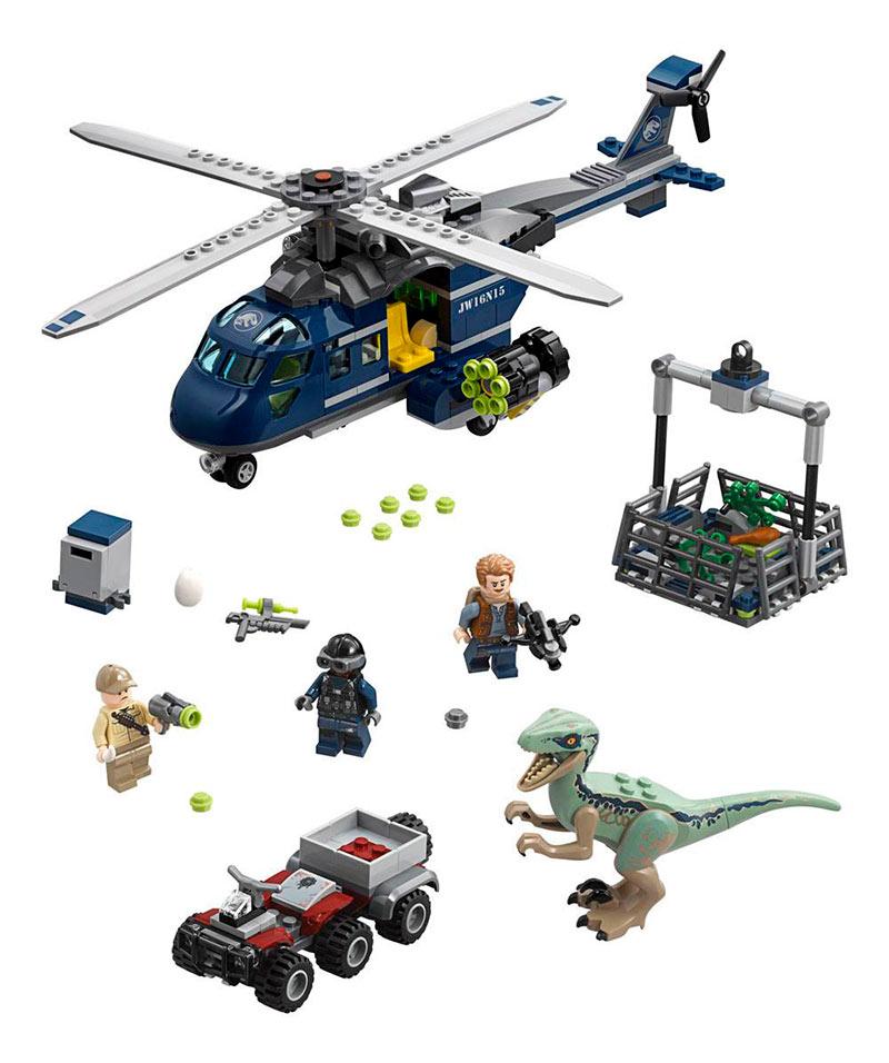 LEGO Persecución en helicóptero de Blue. Jurassic World. 75928
