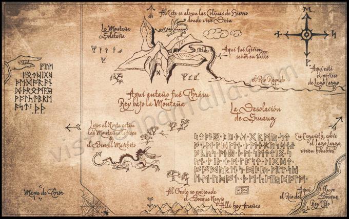Mapa de Thror. El Hobbit