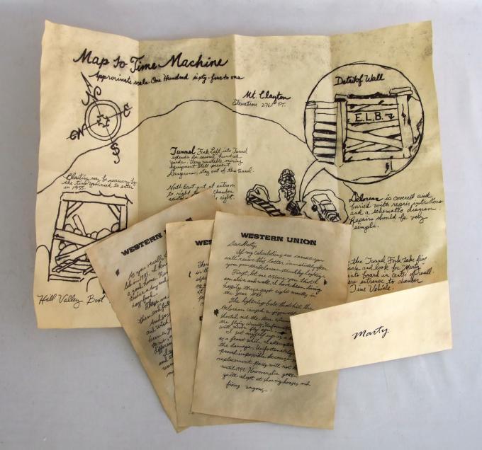 Mapa y Cartas Regreso al Futuro. Doc Brown a Martin McFly
