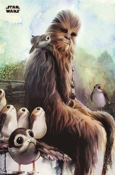 Póster Chewbacca y Porg. Star Wars: The Last Jedi