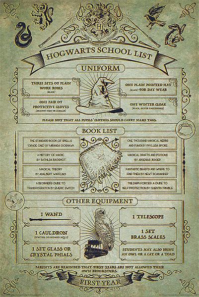 Póster Harry Potter. Hogwarts School List
