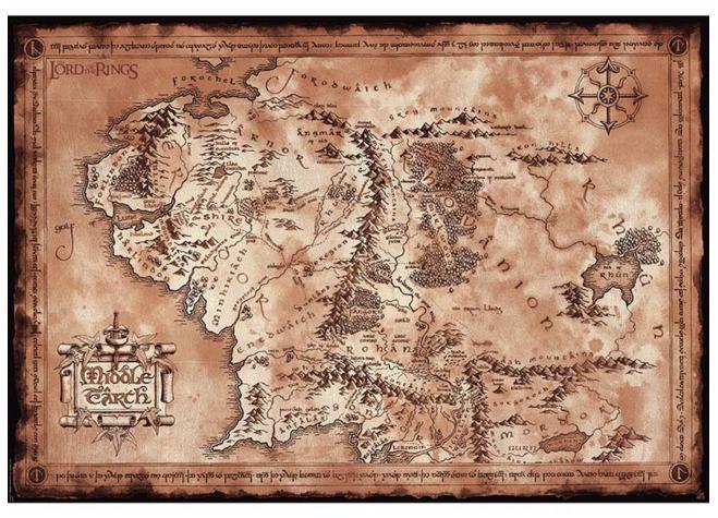 Póster Mapa Tierra Media. El Señor de los Anillos 98x68cm