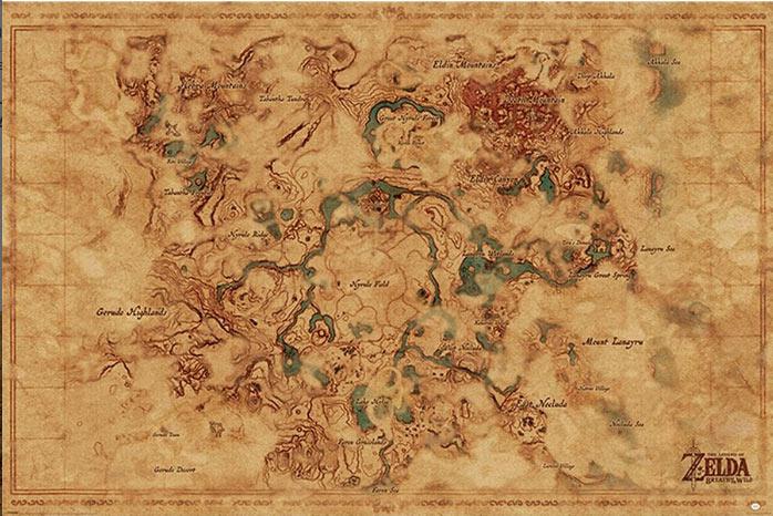 Póster Mapa. The Legend of Zelda: Breath of the Wild