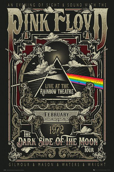 Póster Pink Floyd. Live at the Rainbow Theatre