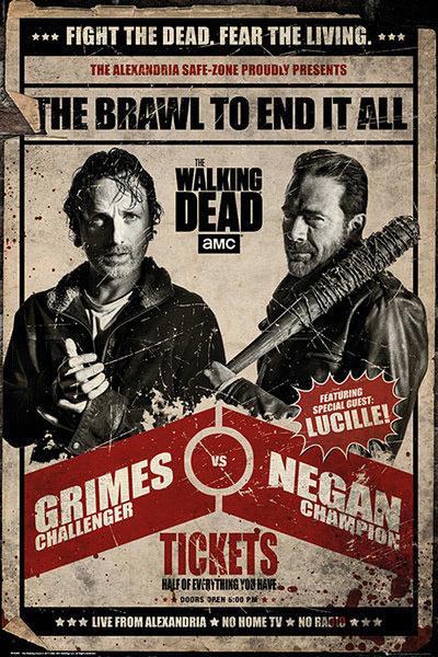 Póster Rick Grimes vs Negan. The Walking Dead