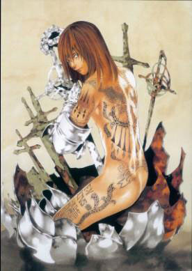 Póster de tela Death Note. Mello tatuaje