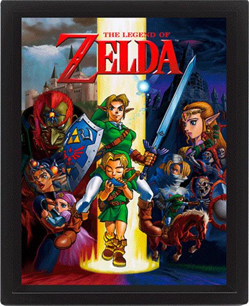 Póster efecto 3D enmarcado The Legend of Zelda