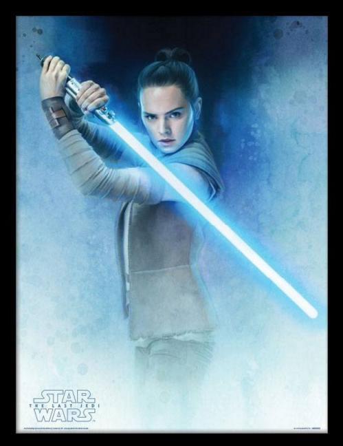 Póster enmarcado Rey con sable. Star Wars: The Last Jedi 45 x 33 cm