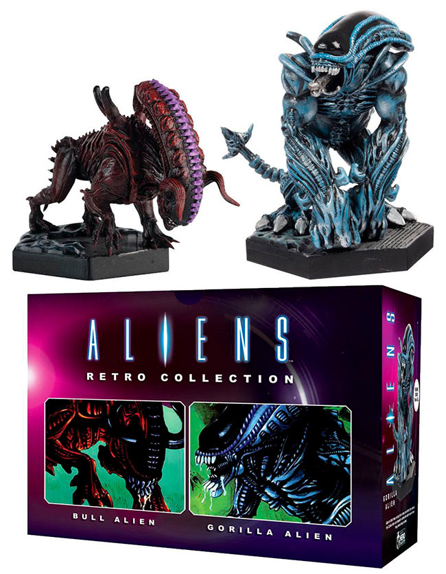 Pack 2 Estatuas Gorilla Alien & Bull Alien 13 cm. Aliens Retro Collection. Eaglemoss Publications