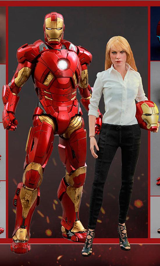 Pack 2 figuras Iron Man Mark IX & Pepper Potts 30 cm. Iron Man 3. Colección Movie Masterpiece. Con luz. Escala 1:6. Hot Toys