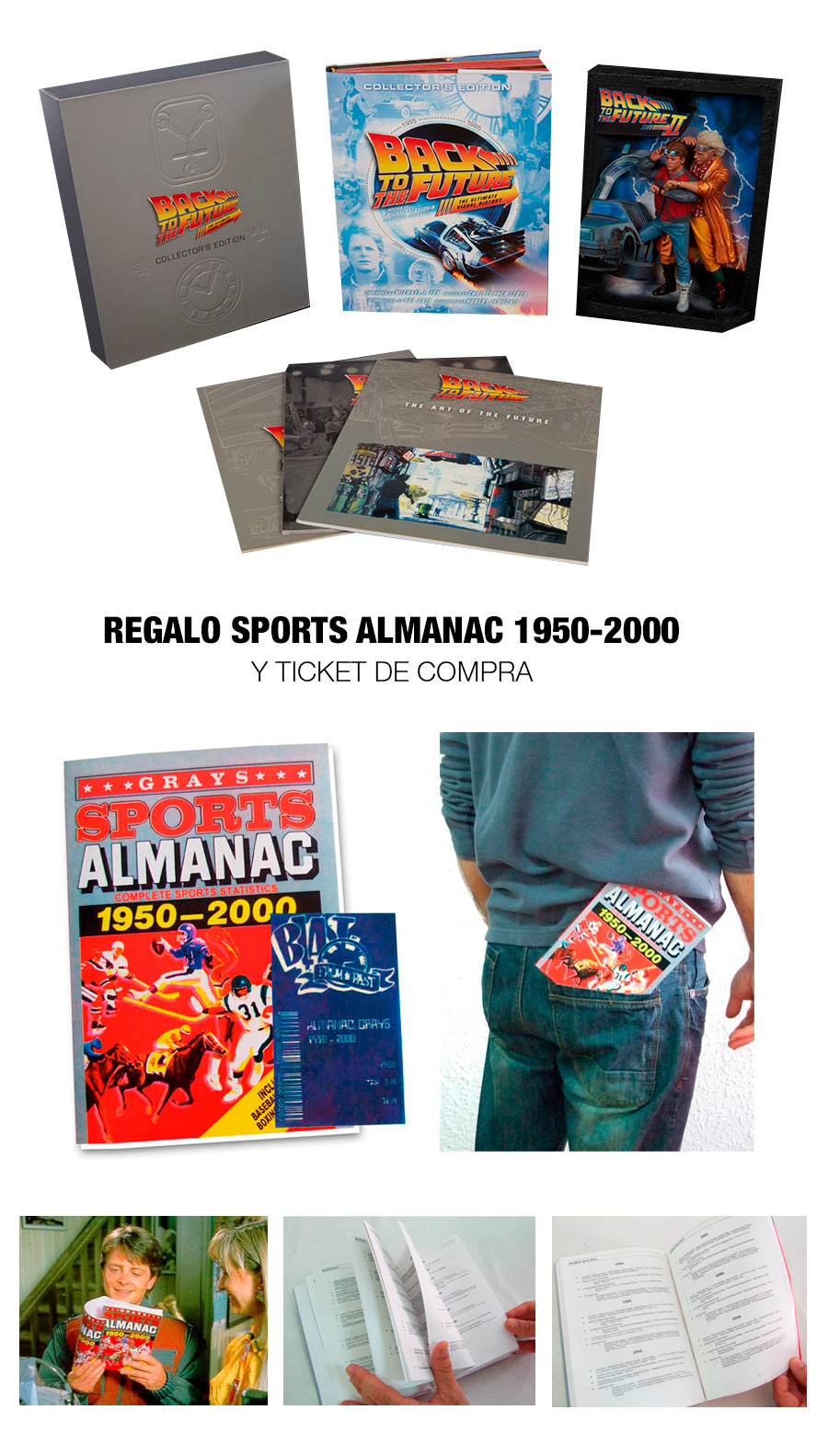 Pack Regreso al Futuro. Libro edición coleccionista Ultimate Visual History + Cuadro 3D & regalo Almanaque Sports Almanac 1950-2000.