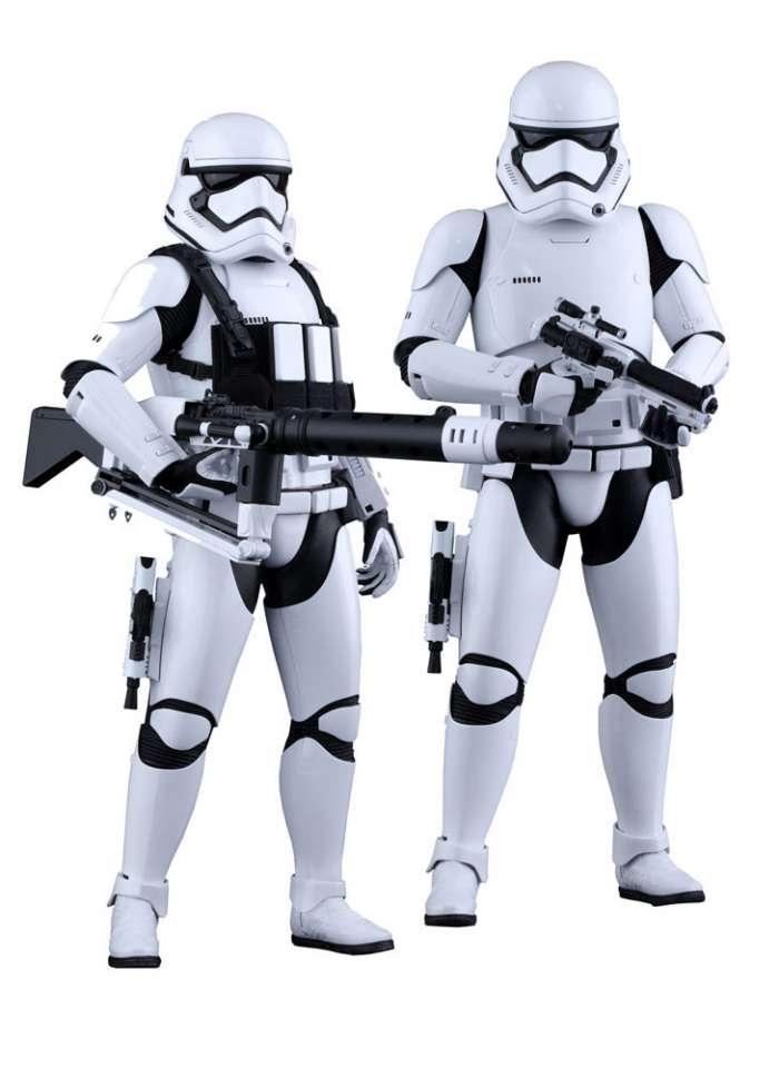 Pack dos figuras soldados Stormtrooper 30 cm. Star Wars Episodio VII. Línea Movie Masterpiece. Escala 1:6. Hot Toys