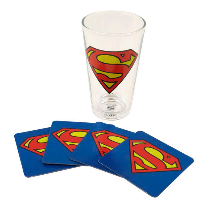 Pack vaso y posavasos Superman. DC Comics