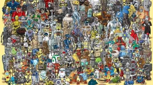 Poster Cientos de Robots. ¿Donde esta Wall-E?