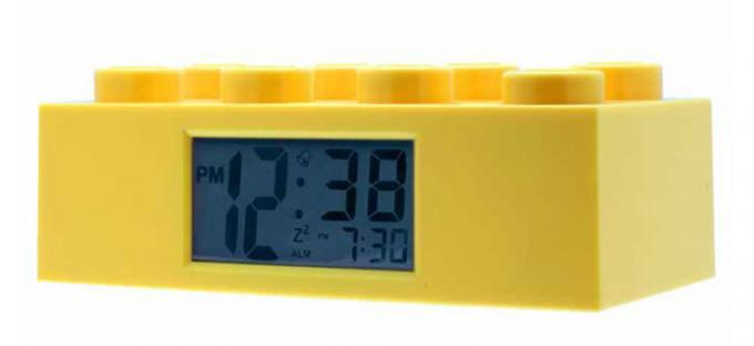 Reloj despertador pieza Lego 26 cm. Color amarillo. ClicTime
